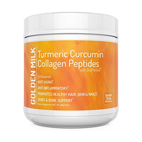 Unflavored Golden Milk Superfood with Turmeric Root Extract 95 Curcuminoids and Hydrolized Collagen Peptides with Black Pepper Fruit Extract BioPerine in Combination with Vitamin C, 486g