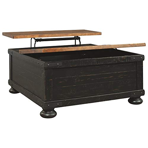Signature Design by Ashley Valebeck Square Lift Top Cocktail Table, Black (Large Cocktail Square Table)
