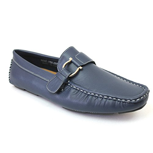 Concrete Side Buckle Mens Loafer Boat Shoes Slip On 1706 Navy Qe4DFyj