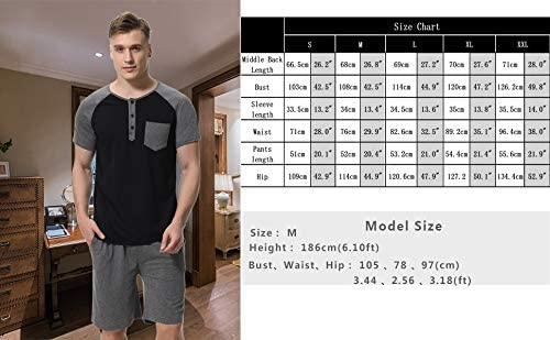 Aibrou Mens Short Pajamas Set Summer Sleepwear 2020 New Pj Set Cotton for Men