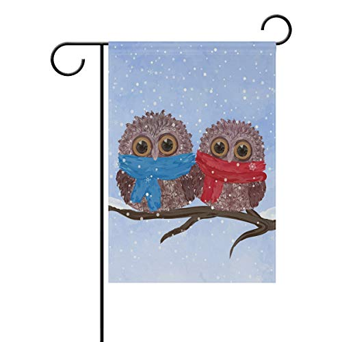 WIHVE Valentine's Day Garden Flag 12 x 18 inch Double Sided, Two Cute Owl Snowflake Polyester Holiday House Banner Seasonal Winter Garden Flag for Home Yard Party Outdoor Decor