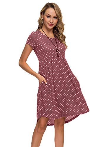 Women's Short Sleeve Flare Midi Dress Summer Loose Casual Swing Dress with Pockets in Dot and Floral (XXL, Crimson dot)