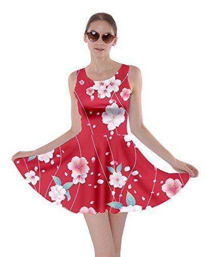 A 5xl Cowcow Fiore Giapponese Xs Gru Stile Ciliegio Fuji Floreale Womens Fiori Sakura Fiore Rosso Vestito Pieghe zq6x1dnwg