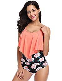a46c7ab295d72 Swimsuit for Women Two Pieces Bathing Suits Top Ruffled Racerback with High  Waisted Bottom Tankini Set