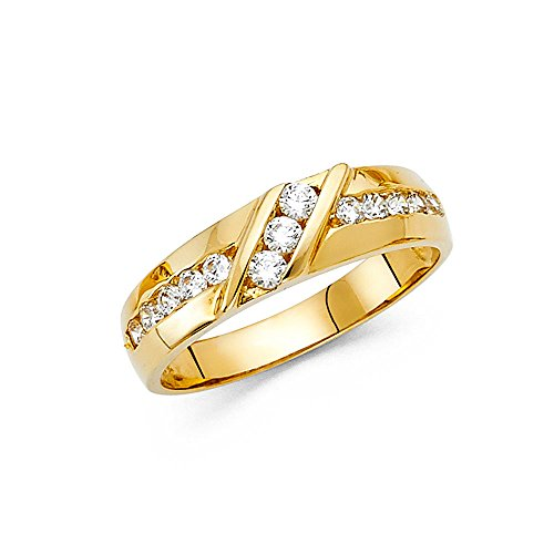 14K Solid Gold Brilliant Round Cut Cubic Zirconia Men's 6mm Channel Set Ring, Size 10