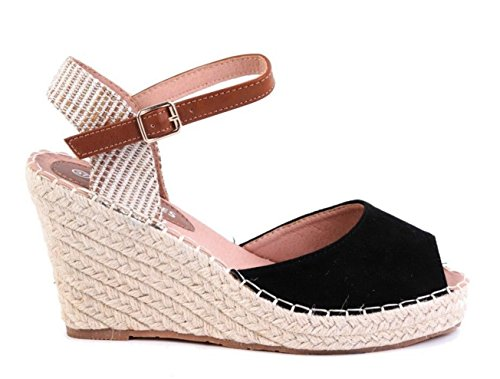 SHU CRAZY Womens Ladies Faux Suede Espadrille High Wedge Ankle Buckle Strap Sandals Shoes - O54 Black eBwQT
