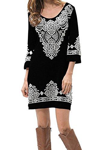 [Our Precious Women's Casual 3/4 Sleeve Scoop Neck Heart Print Tunic Dress Black XL] (Long Sleeve Print Tunic)