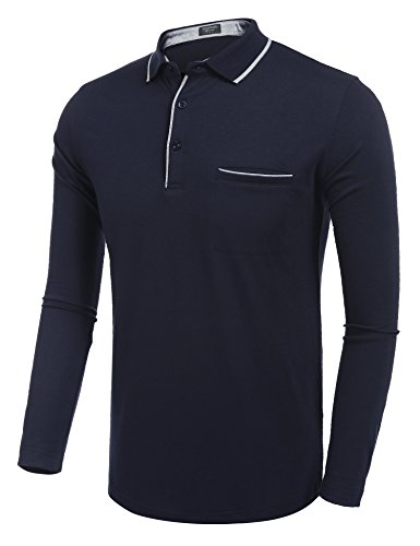 COOFANDY Men's Long Sleeve Polo Shirt Classic Causal Business Slim Fit Cotton Short Sleeve Polo T Shirts,Navy Blue,Large by COOFANDY (Image #1)