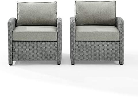 Crosley Furniture KO70026GY-GY Bradenton Outdoor Wicker Arm Chairs Set of 2 , Gray with Gray Cushions