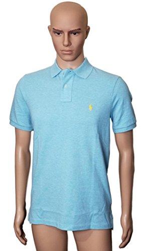 Polo Ralph Lauren Classic Fit Mesh Pony Logo Polo Shirt (S, BluHthYellowPny) (Gestreift Polo Ralph Lauren)