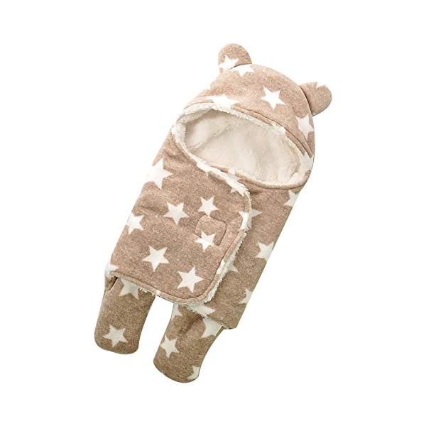 MR. STRONG Baby Swaddle Blanket, Warm Swaddle Blanket, Baby Sleeping Bag,Crochet Hooded Swaddle Wrap Sleep Sackfor 0-12 Month Baby Brown
