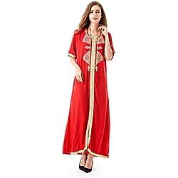 Muslim dress dubai abaya caftan for women Islamic clothing rayon gown jalabiyas