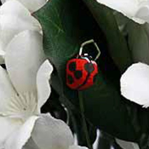 (Artificial Lifesize Ladybugs on Wire Picks - Box of 24 - For Flower Arrangement Decorations or)