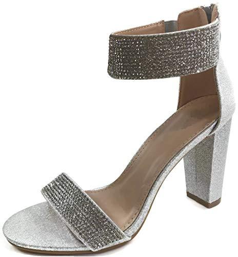 Chunky Rhinestone (Harper Shoes Women's Open Toe Crystal Rhinestone Ankle Strap Chunky High Heel Dress Sandal, Silver, 8.5)