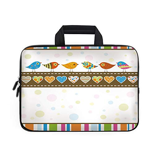 Valentines Day Decor Laptop Carrying Bag Sleeve,Neoprene Sleeve Case/Cute Chubby Birds with Colored Hearts and Stripes Abstract Dots Image/for Apple Macbook Air Samsung Google Acer HP DELL Lenovo Asus