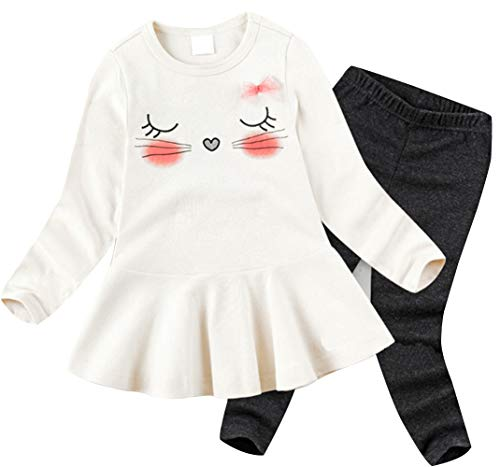BomDeals Cute Cat Elephant Print Toddler Baby Girls Clothes Set,Long Sleeve T-Shirt +Pants Outfit (Age(5T), White-104)