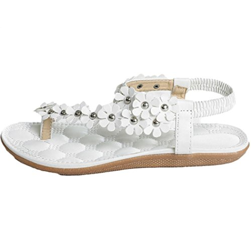 Daisy Womens Sandals - InKach Women Summer Bohemia Flower Beads Flip-Flop Shoes Flat Thong Sandals (8, White_2)