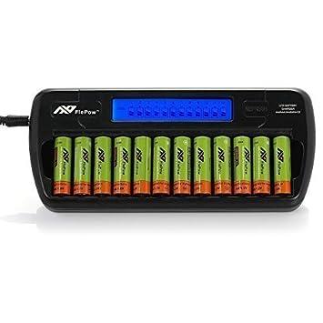 FlePow™ Cargador rápido para 8 pilas recargables de AA/AAA ...