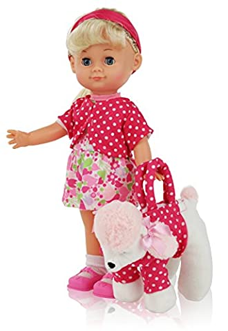 12 Inch Blond Hair Girl Play Doll, Comes Dressed with Clothing, Shoes and Matching Puppy Purse, Accessories included, Realistic Looking Baby Doll with Blinking - Purse Doll Clothes