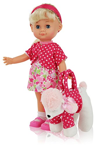 12 Inch Blond Hair Girl Play Doll, Comes Dressed with Clothing, Shoes and Matching Puppy Purse, Accessories included, Realistic Looking Baby Doll with Blinking Eyes