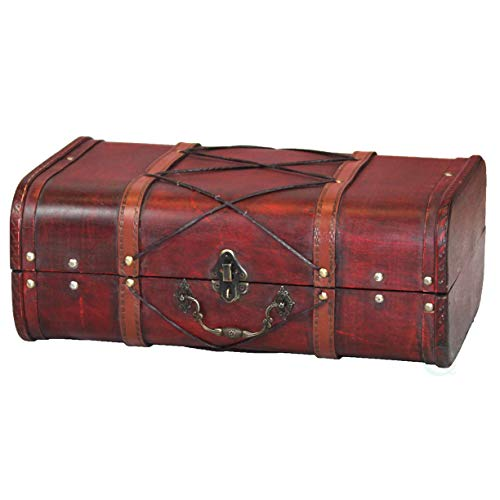 Cherry Wood Antique (Antique Cherry Wooden Suitcase with Leather X Design)