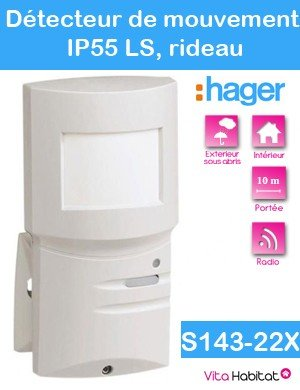 Hager - Detector movimiento ip55 ls radio cortina 10m