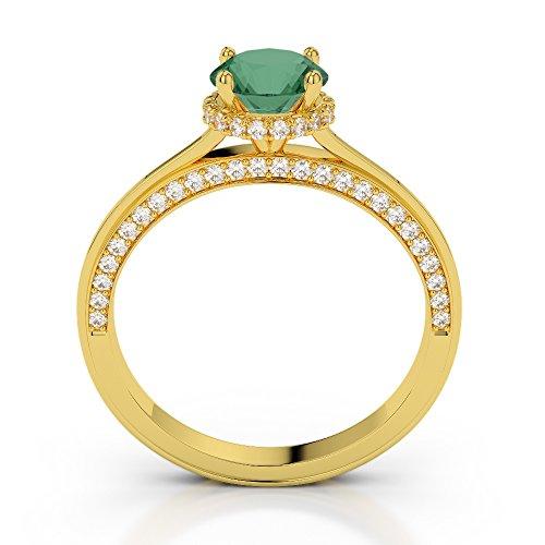 Or jaune 18carats 0,40CT G-H/VS sertie de diamants ronds découpé Émeraude et bague de fiançailles Agdr-2034