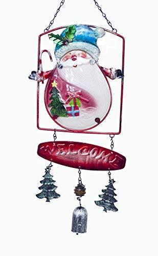 - Anyasun Santa Wind Chimes Christmas Bell Hanging Christmas Decoration Jingle Bells 21x7 Inches Wind Chime(Santa Claus Pattern)
