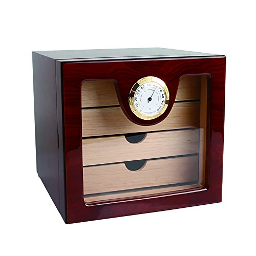 r Cabinet Humidor with Hygrometer and Humidifier, Spanish Cedar Wood Lined and 3 Layer Drawers, Tempered Glass Door, Decent Cigar Box Gift Set (Rosewood) ()