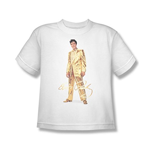 [Elvis Presley - Youth Gold Lame Suit T-Shirt In White, X-Large, White] (Gold Elvis Suit)