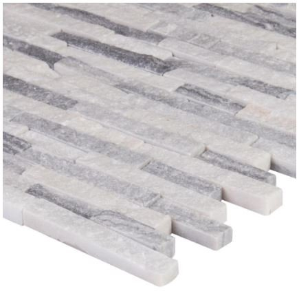 Alaska Gray Splitface 12 in. x 12 in. x 10 mm Marble Mesh-Mounted Mosaic Tile