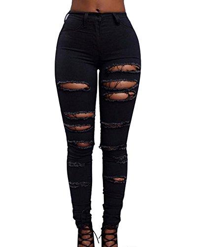 Nero Straigh Pantaloni Mode Donna Distrutto Strappati Patchato Jeans Da Taglio Elasticizzati Skinny qwAPZRXwx
