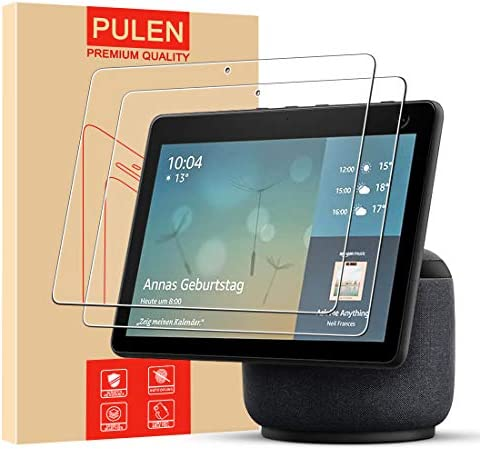 (2 Packs) Echo Show 10 Screen Protector (3rd Gen,New Version),PULEN 9H Hardness HD Clear Anti-Scratch Bubble-Free Easy Instalaltion Tempered Glass