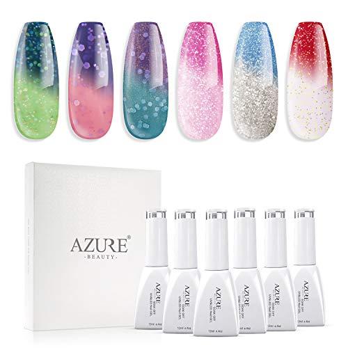 UV LED Gel Nail Polish Set Mood Color Changing Gel Polish Set, 12ML 6 Colors by AZUREBEAUTY (Best Gel Polish Colors)