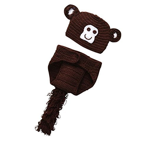Newborn Baby Crochet Costume Photography Prop Outfit (Monkey Makeup Costume)