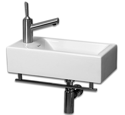 Whitehaus WH1-114LTB-WH Isabella 19-3/4-Inch Wall-Mount Lavatory Basin with Central Drain, Attached Towel Bar, and Left-Hand Faucet Drilling, White