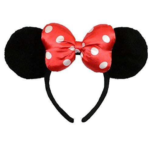 Disney Parks Minnie Mouse Red with Polka Dots Satin Bow Ears (Polka Dots Satin Headband)