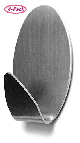 304 Stainless Steel Self Adhesive Hook Bathroom Kitchen Towel Hanger Style 4 - 2