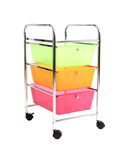 Finnhomy Chrome Metal Frame And 3 Semi Transparent Multi Color Drawer  Plastic Portable Rolling Storage Cart, Multi Color  U0026starf;u0026starf;u0026starf;u0026starf; ...
