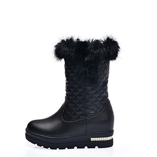 Allhqfashion Femmes Pull-on Chaton-talons Pu Solide Low-top Bottes Noir