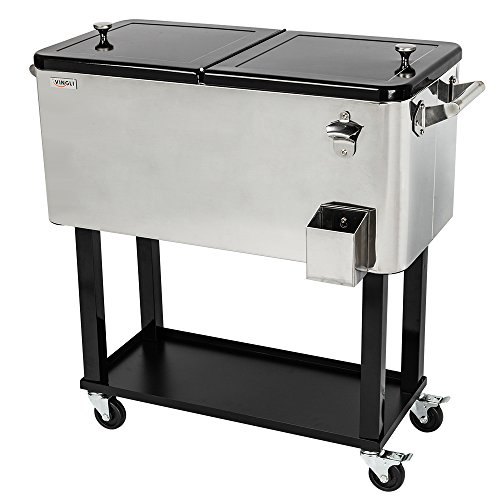 VINGLI 80 Quart Rolling Ice Chest on Wheels, Portable Patio Party Bar Drink Cooler Cart, Stainless Steel with Shelf, Beverage Pool with Bottle Opener and (Stainless Steel Rolling Cooler)