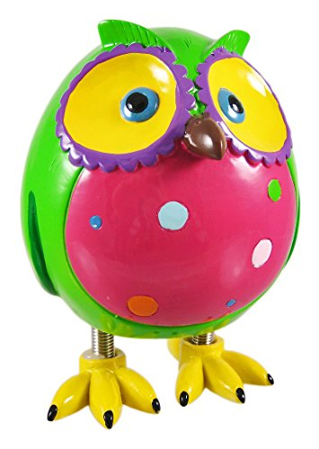 Super Cute Green Owl Piggy Bank W/ Spring Legs Money by Blowfish by Zeckos