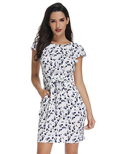 Women's Elegant Cap Sleeve Split Floral Print Casual Party Dress with Sash (White-Flower, Large)