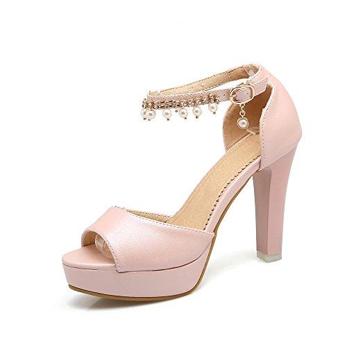 QIN&X Bloque de Mujer Tacones Peep Toe Sandalias de Plataforma Pink