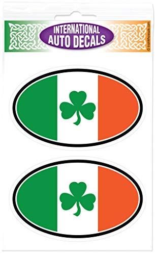 Irish Tricolor Shamrock Oval (2) Decal Vinyl Window ()