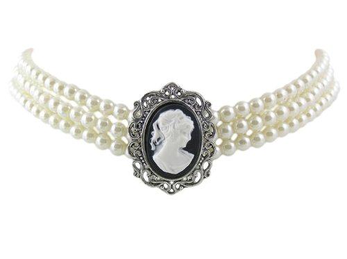 Trachtenschmuck Dirndl Collier - Weisse Perlen Gothic Kropfkette mit Gemme / Kamee