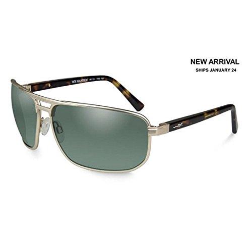Wiley X ACHAY04 WX Hayden Sunglasses w/Satin Gold Frame & Polarized Green Lens