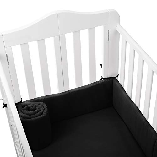 (Babydoll Tailored Baby Porta Crib Bumpers, Black, 24