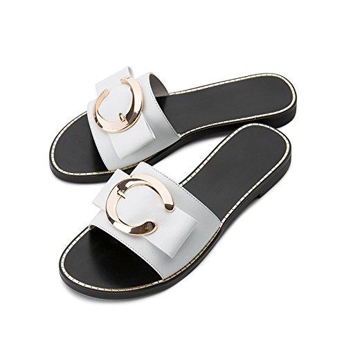 de DHG Mujer de Zapatillas Color Ocasionales Sandalias Sandalias S Verano Moda Sandalias Punta de de Dulces de Planas EqnxwC0Rqr