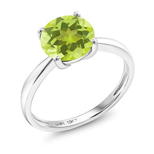 (10K White Gold 1.85 Ct Round Yellow Lemon Quartz 8MM Engagement Solitaire Ring (Size 7))